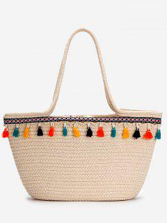 Casual Vacation Bohemian Tassels Straw Tote Bag - Beige