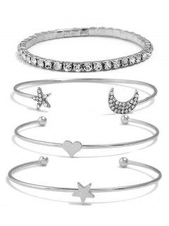 Star Moon Heart Designed Rhinestone Bracelets Set - Silver