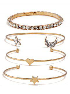 Star Moon Heart Designed Rhinestone Bracelets Set - Gold