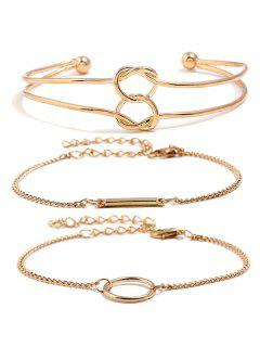 Love Heart Knot Chain Alloy Bracelets Set - Gold