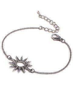 Sun Design Rhinestone Chain Bracelet - Silver