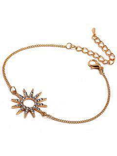 Sun Design Bracelet Chaîne à Strass - Or