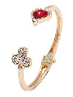 Rhinestone Heart Flower Design Cuff Bracelet - Gold