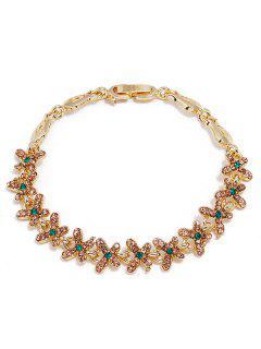 Rhinestone Butterflies Design Decoration Alloy Bracelet - Gold