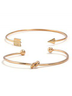 Arrow Designed Cuff Bracelets Set - Gold