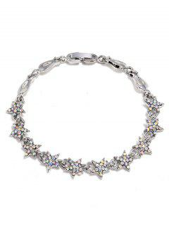 Rhinestone Star Decoration Alloy Bracelet - Silver