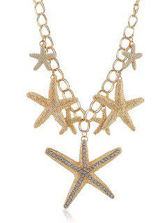 Rhinestone Starfishes Decoration Pendant Chain Necklace - Gold