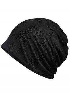 Lightweight Solid Color Breathable Beanie Hat - Black