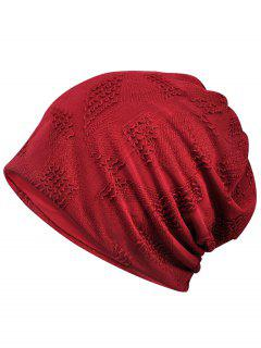 Lightweight Solid Color Breathable Beanie Hat - Red Wine