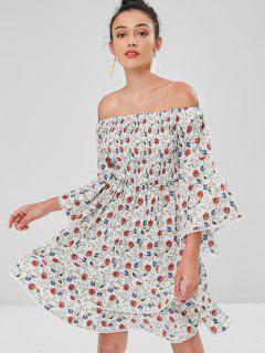 Vestido Con Hombros Descubiertos Y Mangas Abullonadas - Blanco L