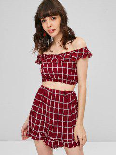 Ruffles Checked Shorts Set - Firebrick Xl
