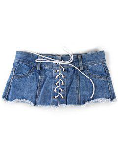 Unique Denim Shorts Wide Waist Belt - Blue