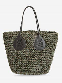 Contrasting Color Casual Holiday Straw Bohemian Tote Bag - Green
