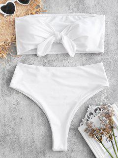 Hohe Schlitz Cabrio Bandeau Bikini Set - Weiß L