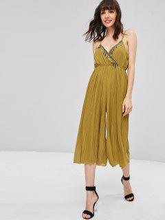 Beaded Pleated Wide Leg Jumpsuit - Goldenrod Xl