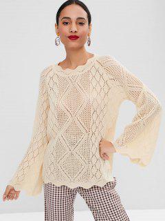 Scallop Openwork Bell Sleeve Sweater - Cornsilk M