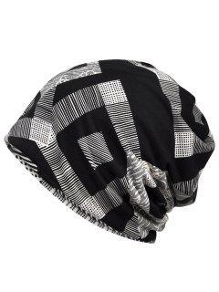 Unique Geometric Printed Beanie Hat - Black