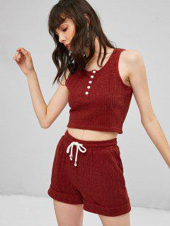 Sweat Tank Top And Shorts Two Piece Set - Rust M