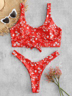 Übergroße Blumen Knoten Bikini-Set - Rot 3x