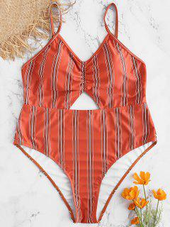 Plus Size Striped Backless Swimsuit - Chestnut Red 2x
