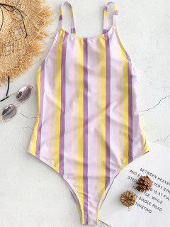 Cross Strap Striped High Cut Swimsuit - Multi S