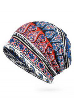 Floral Pattern Open Two Slouchy Beanie - Blue