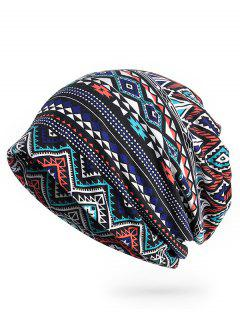 Geometric Pattern Open Top Beanie - Midnight Blue