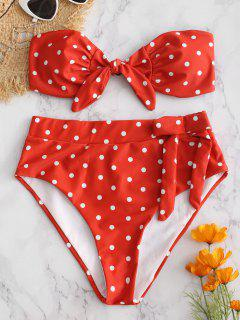 Polka Dot Bandeau High Leg Bikini Set - Chestnut Red L