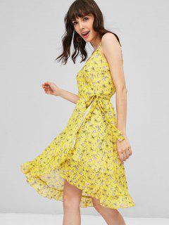 Robe Portefeuille à Volants Motif Floral - Jaune Soleil S
