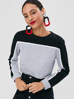 Terry Color Block Cropped Sweatshirt - Light Gray L