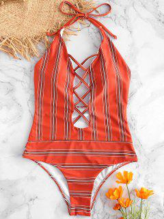 Criss Cross High Cut Striped Swimsuit - Chestnut Red L