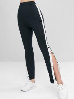 Buttoned High Waist Leggings - Black L