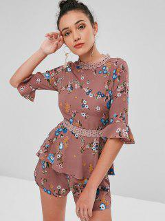 Crochet Panel Floral Shorts Set - Khaki Rose L