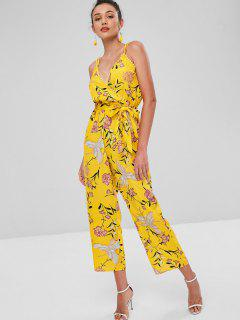 Floral Print Belted Cami Jumpsuit - Bright Yellow L