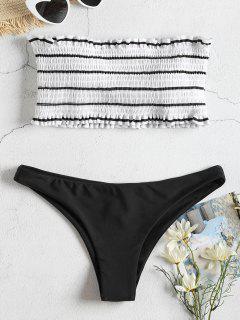 Striped Smocked Bandeau Bikini Set - Black S