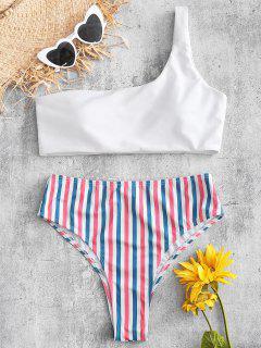 Einfarbiges Gestreiftes Bikini Set Nit Einer Schulter - Weiß M