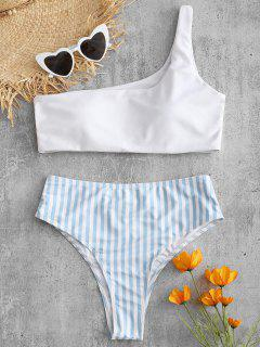 One Shoulder Striped High Leg Bikini Set - White S