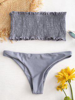 Rüschen Smocked Bandeau Bikini Set - Helles Schiefergrau L