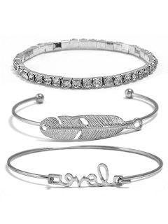 Leaf Letters Design Rhinestone Bracelets Set - Silver