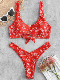 ZAFUL Flower Cut Out Tied Bikini Set - Red S