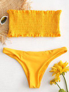 Ruffle Smocked Bandeau Bikini Set - Bee Yellow L