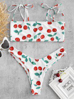 Cherry Tie Schulter Bralette Bikini Set - Weiß M
