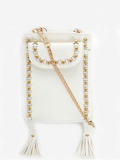 trendy Rivet Tassel PU Leather Crossbody Bag - WHITE  Mobile