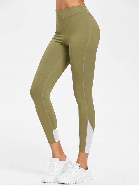 ladies Mesh Panel High Waisted Sports Leggings - AVOCADO GREEN S Mobile