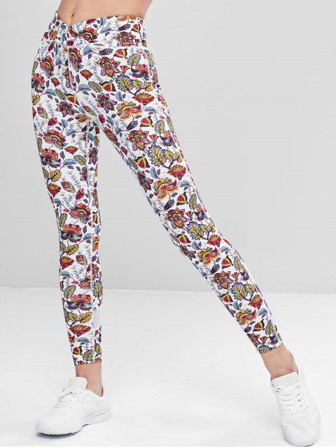 Pantalones deportivos de panel de malla exótica - Multicolor M Mobile