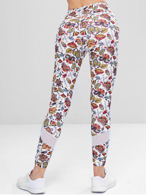 Pantalones deportivos de panel de malla exótica - Multicolor S Mobile