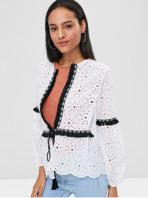 women Fringed Broderie Long Sleeve Tie Front Blouse - WHITE M Mobile