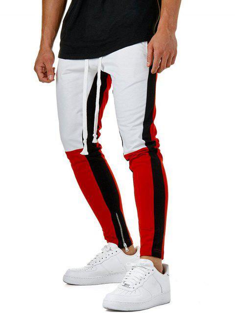 women Color Block Hem Zipper Track Pants - WHITE M Mobile
