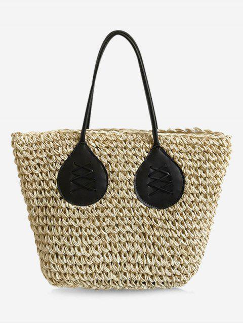 buy Contrasting Color Casual Holiday Straw Bohemian Tote Bag - BEIGE  Mobile