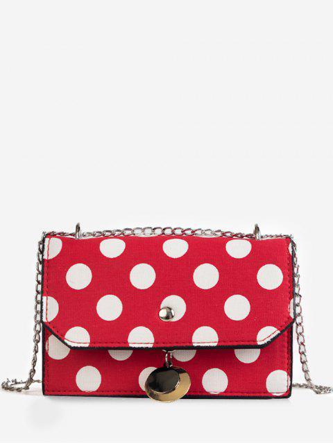 Flapped colgante metálico Polka Dot Color Block Crossbody Bag - Rojo  Mobile